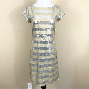WHBM Silver Gold Sequin Cocktail Dress D3
